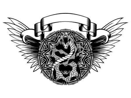 추상적 인 벡터 일러스트 레이 션 검은 색과 whide 뱀 오픈 입과 날개 장식 라운드. 직물 또는 티셔츠 인쇄용 디자인. 일러스트