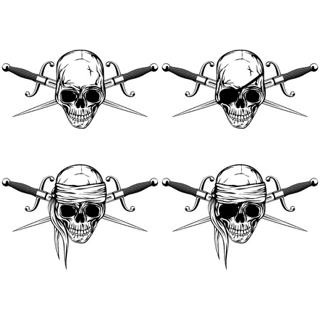 Vector illustration pirate skull with cutlass set. Skull with eye patch and without