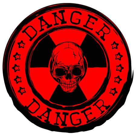 nuke: Vector illustration red round stamp with radioactivity sign and lettering danger. In center of radiation symbol abstract skull Illustration