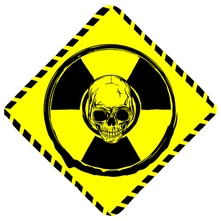 Vector illustration rhombic yellow sign radiation to skull