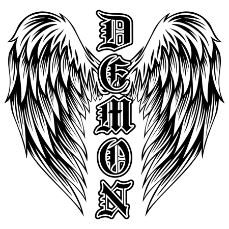 Illustrazione vettoriale astratta ali in bianco e nero e demone di iscrizione in stile gotico. Design per t-shirt o stampa t-shirt. Vettoriali