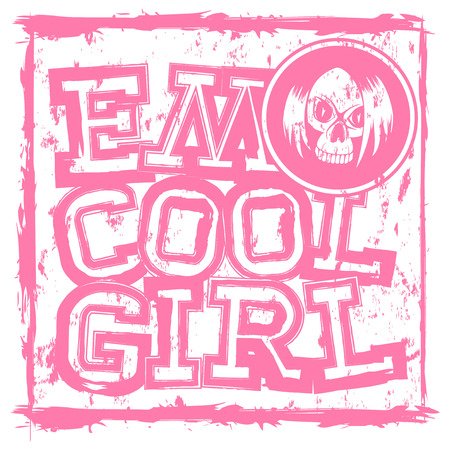 Vector illustration pink inscription emo cool girl on grunge background and skull with hair. Design for print on t-shirt.