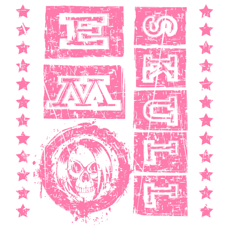 Vector illustration pink shabby inscription emo skull with stars on white background and skull with hair.