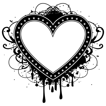 Abstract vector illustration frame heart with stars on grunge patterns. Design for tatto or print t-shirt.