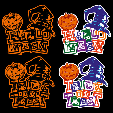 Vector colored illustration grunge lettering halloween and trick or tread and jack-o-lantern pumpkin and witch hat set.