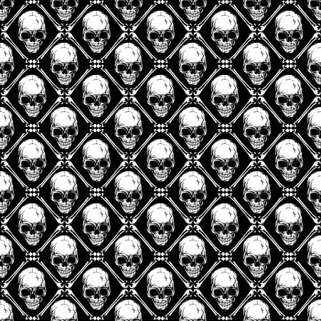 Illustrazione vettoriale astratta sfondo bianco e nero senza soluzione di continuità con teschi e ossa. Design per stampa su tessuto o t-shirt.