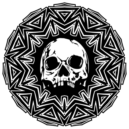 Abstract vector illustration black and white skull on round ornament. Illustration