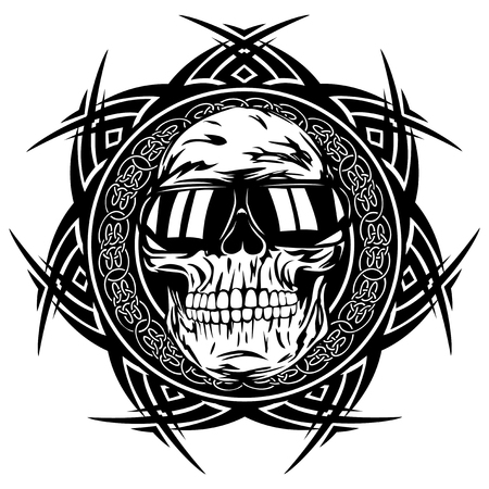 celtic: Abstract vector illustration disc jockey skull in sunglasses on round ornament. Design for tattoo or print t shirt.