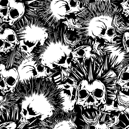 Abstract vector illustration black and white punk skulls with mohawk hair seamless background. Design for print on fabric or t-shirt.