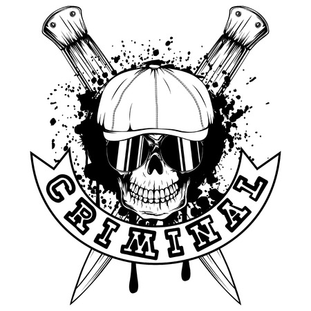 Vector illustration skull in cap with sunglasses and crossed knifes. Inscription criminal. For tattoo or t-shirt design.