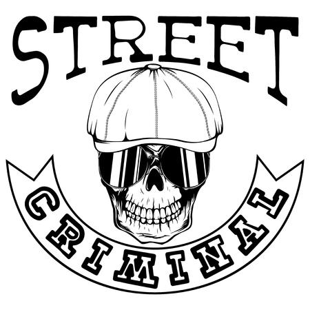 Vector illustration skull in cap with sunglasses. Inscription street criminal. For tattoo or t-shirt design.