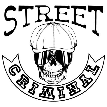 Vector illustration skull in cap with sunglasses. Inscription street criminal. For tattoo or t-shirt design.