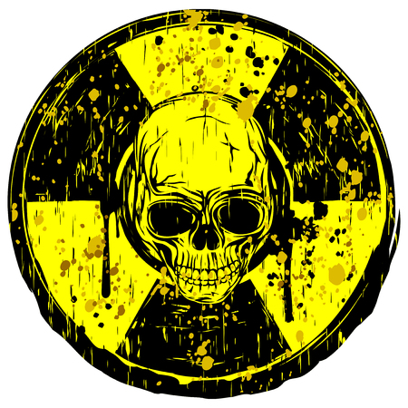 Vector illustration yellow dirty round radiation sign and abstract grunge skull Stock Illustratie