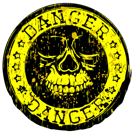 Vector illustration yellow dirty stamp with inscription in circle danger and stars. In center stamp symbol grunge skull Illustration
