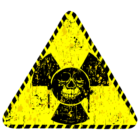 Vector illustration yellow dirty triangle radiation sign and abstract grunge skull