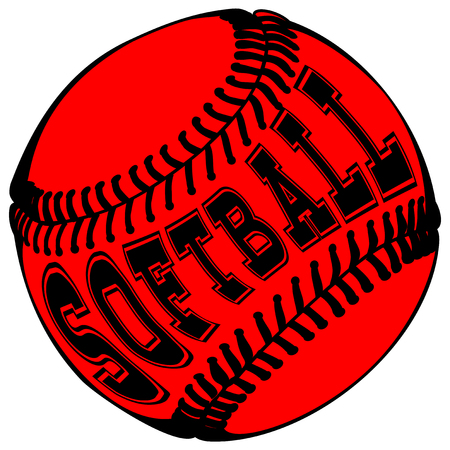 Abstract vector illustration black and red baseball ball on white background. Inscription softball. Design for tattoo or print t-shirt.