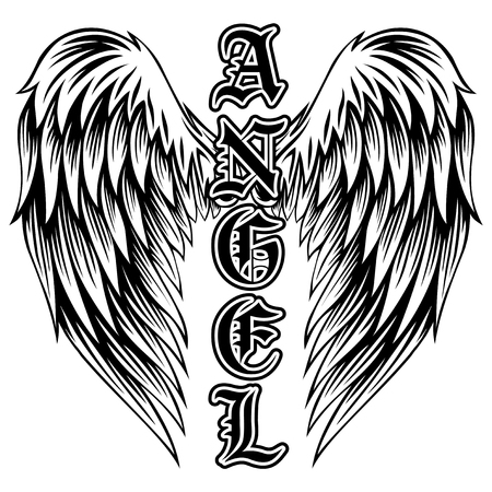 Abstract vector illustration black and white wings and inscription angel in the Gothic style. Иллюстрация