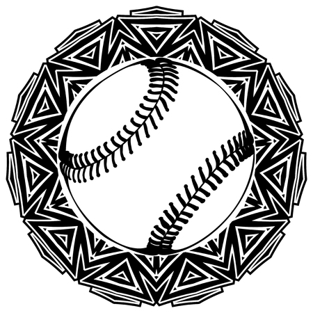 Abstract vector illustration black and white baseball ball on round ornament. Design for tattoo or print t shirt.
