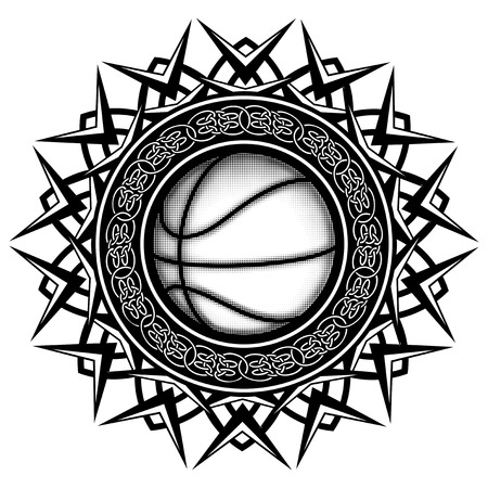 round logo: Abstract vector illustration black and white basketball ball on round ornament with celtic knots. Design for tattoo or print t shirt. Illustration