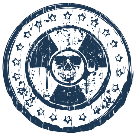 toxicity: Vector illustration blue old dirty round stamp with abstract grunge skull on radiation sign and stars