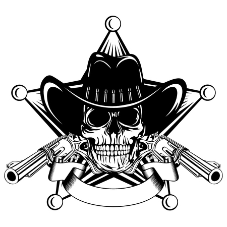 Vector illustration cowboy skull in hat and revolvers on sheriff star. Vettoriali