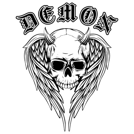 Abstract vector illustration black and white horned skull with wings. Inscription demon in the Gothic style.