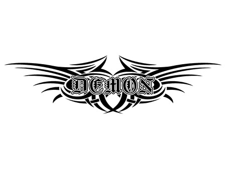 Abstract vector illustration black and white tribal wings and inscription demon in the Gothic style.