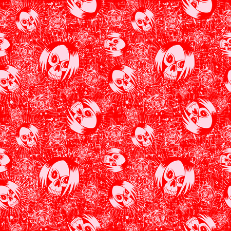 Vector red and pink illustration skull girl with hair and roses on grunge backdrop. Seamless background.