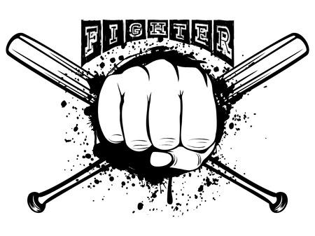 Vector illustration crossed bats and fist. Inscription fighter. For tattoo or t-shirt design. Illustration