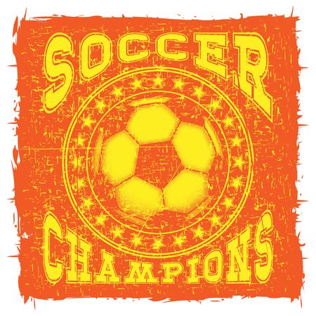 Abstract vector illustration orange shabby stamp football ball on grunge background.