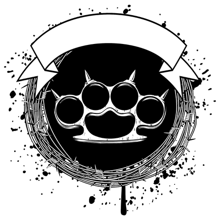Vector illustration barbed wire and brass knuckle. For tattoo or t-shirt design. Stock Illustratie