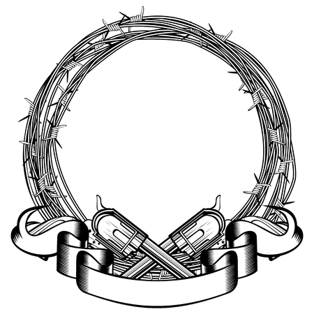 Vector illustration two crossed revolvers. Frame of barbed wire. For tattoo or t-shirt design.