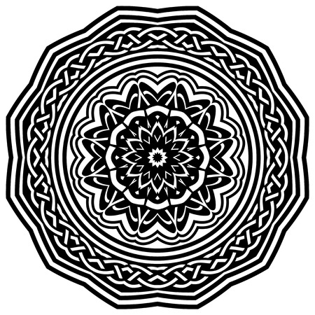 celtic: Abstract vector black and white illustration round beautiful ornament. Decorative vintage ethnic mandala pattern. Illustration