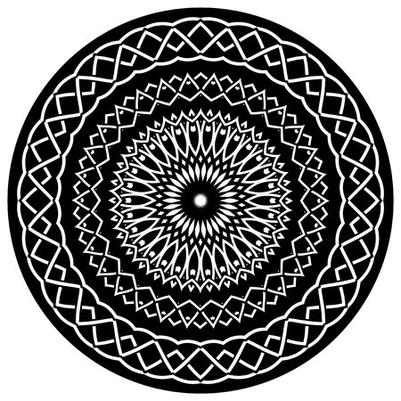 ceiling: Abstract vector black and white illustration round beautiful ornament. Decorative vintage ethnic mandala pattern. Illustration
