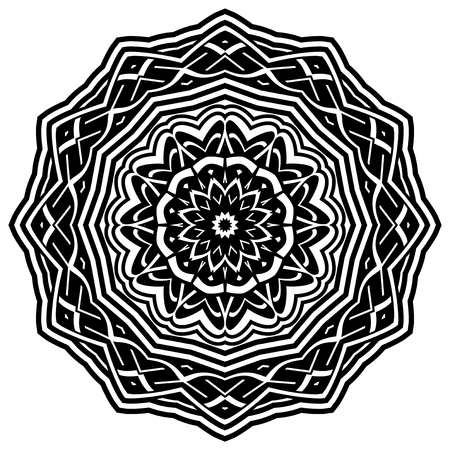 celtic: Abstract vector black and white illustration round beautiful ornament. Decorative vintage ethnic mandala pattern. Design element for tattoo or logo. Illustration