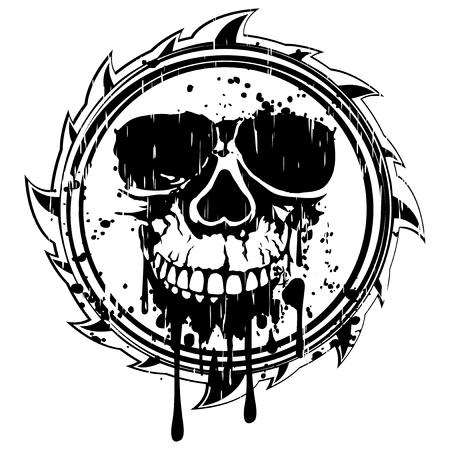 Een Vector illustratie abstract zwart symbool tegen de schedel.