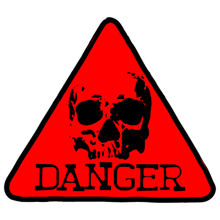 A Vector illustration red triangular symbol with lettering danger and abstract skull.