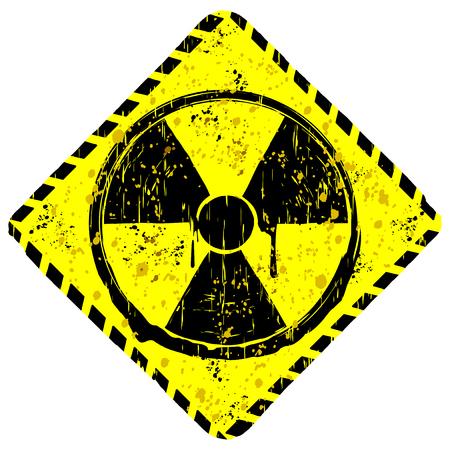 plutonium: A Vector illustration rhombic yellow grunge sign radiation.