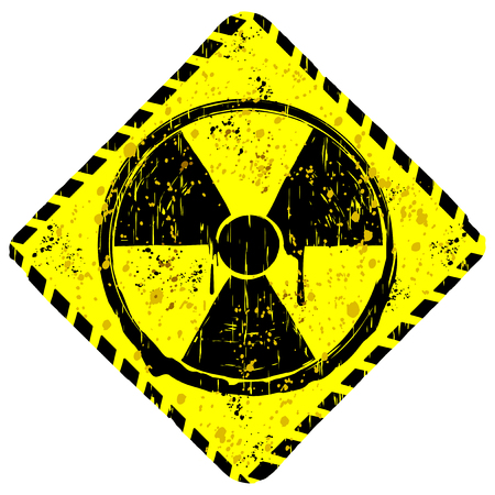 A Vector illustration rhombic yellow grunge sign radiation.