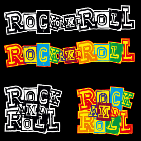 version: A Vector illustration grunge lettering rock and roll for black background. ?olor and black and white version. Used fonts look in my portfolio.