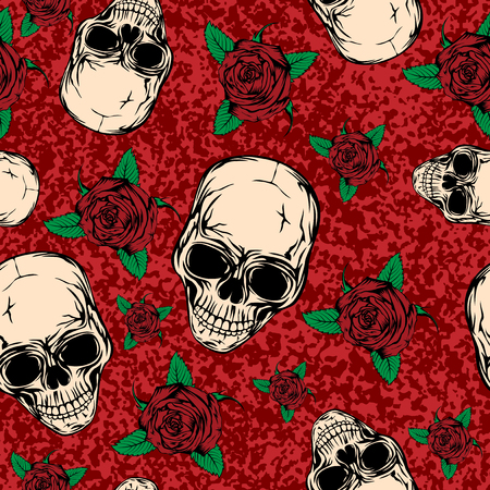 A Vector illustration abstract grunge color background with skulls and roses for cloth or card. Illustration