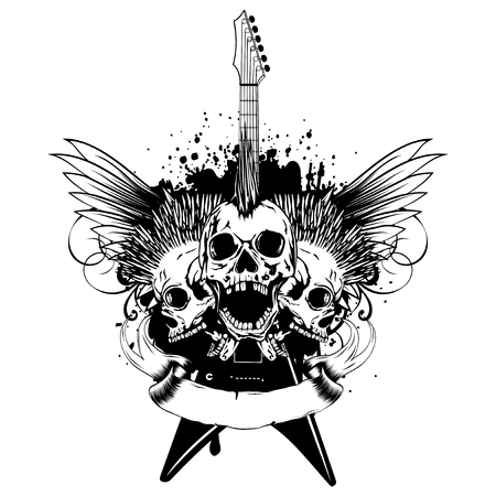 A Vector illustration three punk skulls with mohawk haircut and guitar on grunge background. Design for t-shirt or tattoo.