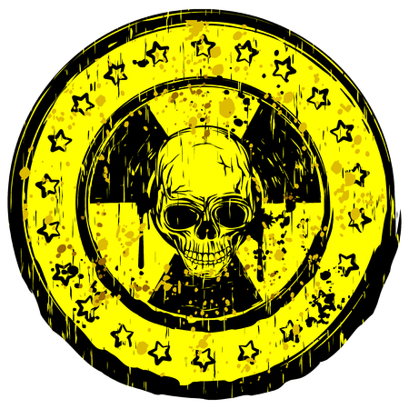 A Vector illustration yellow old dirty round stamp with radiation symbol and abstract grunge skull.