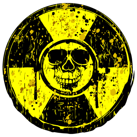 A Vector illustration yellow old dirty round radiation sign and grunge skull.