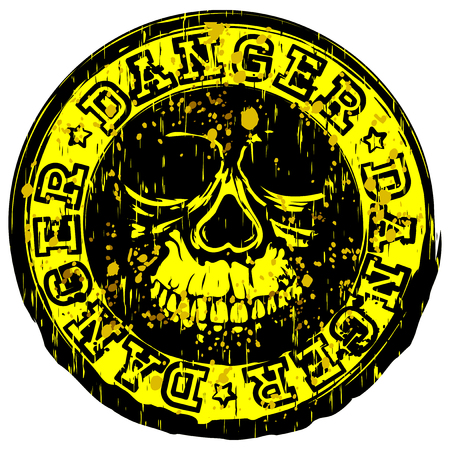 A Vector illustration yellow grunge stamp with inscription in circle danger and stars. In center stamp symbol abstract skull.
