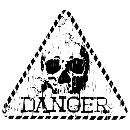 radioactive sign: Vector illustration grunge triangular symbol with letterind danger and abstract skull for t-shirt design