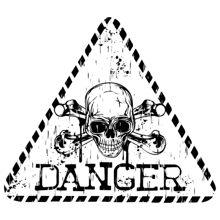 Vector illustration grunge triangular sign with letterind danger and abstract skull with crossed bones for t-shirt design Illustration