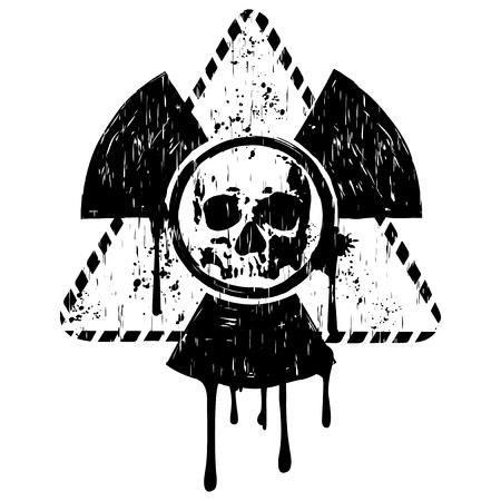 Vector illustration black grunge triangular radiation symbol and abstract skull
