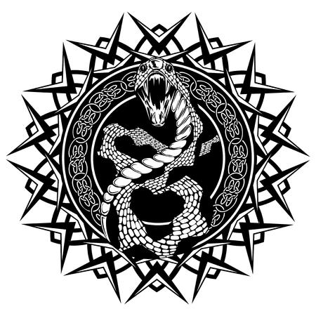 knotwork: Abstract vector illustration black and whide snake with open mouth on round ornament with celtic knots. Design for tattoo or print t shirt. Illustration