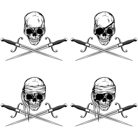 sea robber: A Vector illustration pirate skull and cutlass set. Skull with eye patch and without. Illustration